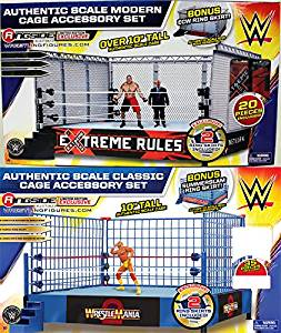 PACKAGE DEAL MODERN DAY STEEL CAGE PLAYSET & CLASSIC BLUE STEEL CAGE PLAYSET - WWE TOY WRESTLING ACTION FIGURE PLAYSETS
