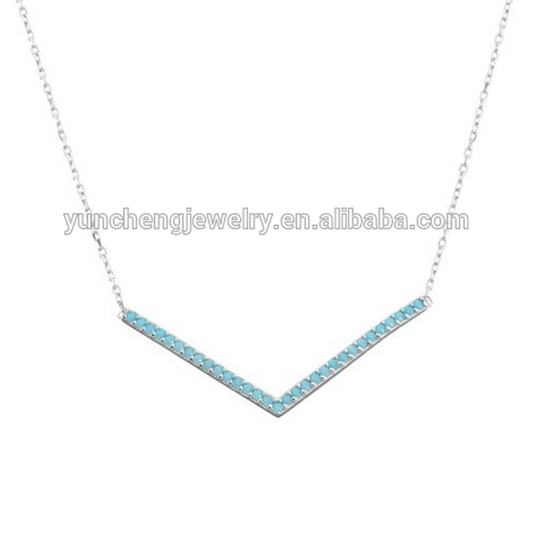 YCN6632 Turquoise CZ Stone Silver Curved Bar Necklaces For Women