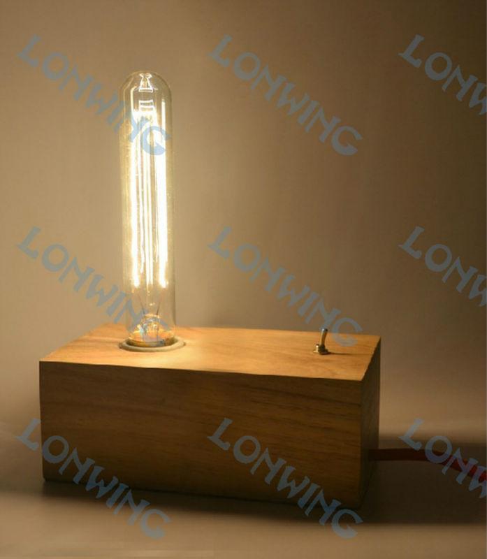 Handmade Vintage Wooden Edison Bulb Table Lamp For Wholesale