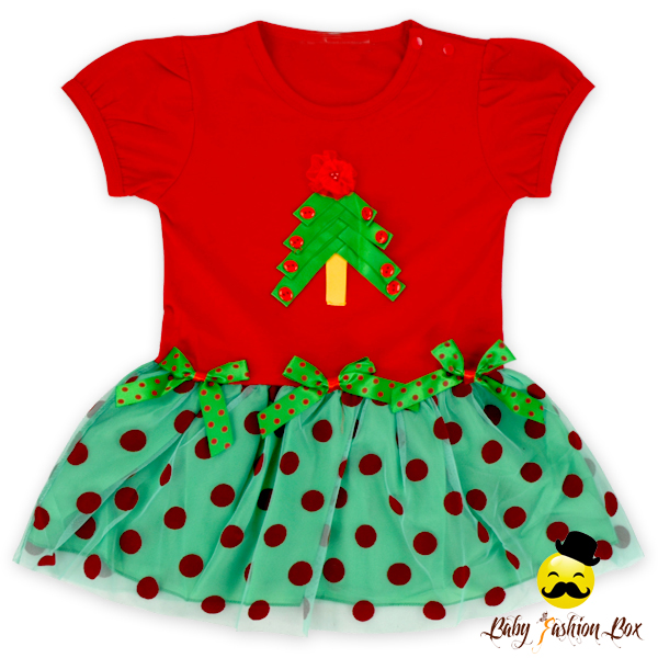 Christmas Baby Short Sleeve Printed Tree Polka Dots Tutu Yarn Dress Baby Frock Designs For Stitching