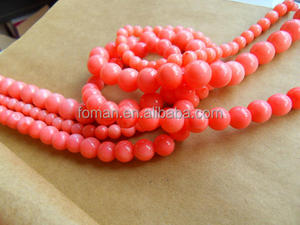 4mm round natural oil dyed pink coral beads