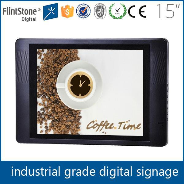 FlintStone 15 inch industrial LCD ad display, industrial grade advertising monitor, advertising LCD signage player