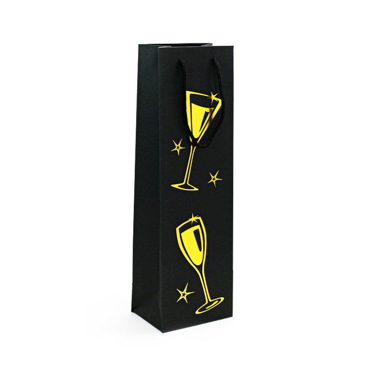 PWBSL170904 luxury paper wine bag with gold hotstamping