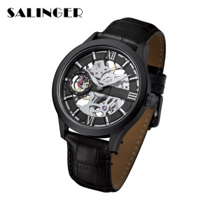 Low Price Nice Stainless Steel Genuine Leather Strap Men Diver Watch Mechanical Wrist Watch For Match