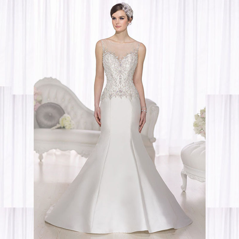2015 Elegant Beaded Satin Wedding Dress Crystal Custom Made New Style See Through Mermaid Wedding Dresses Floor Robes De Mariage