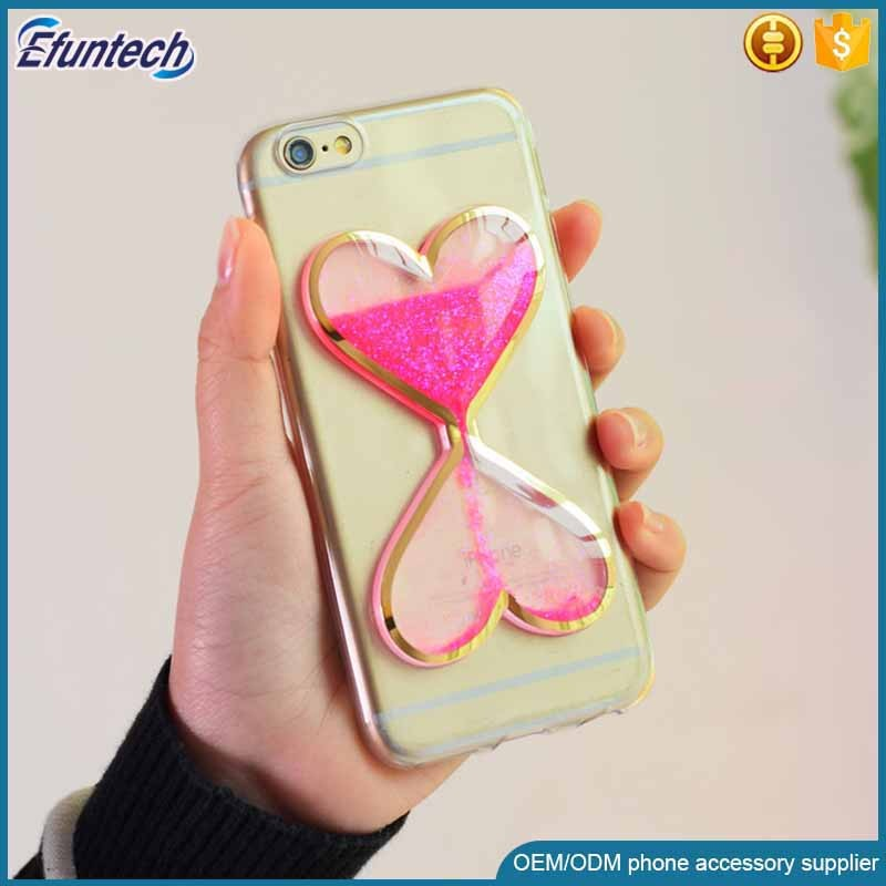 Alibaba top selling products beautiful fluorescence light heart liquid sand cell phone case for iphone 6s plus case