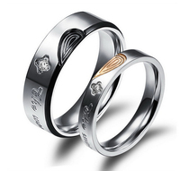 His & Hers Promise Wedding Rings Classical Black/Gold Plated Half Heart Puzzle Full Steel + Cubic Zirconia Jewelry GJ457