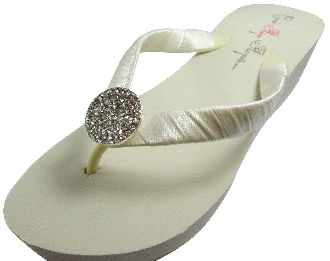 41606baf1 Light Pink   Ivory Jeweled Wedding Bridesmaid or Bride Flip Flops