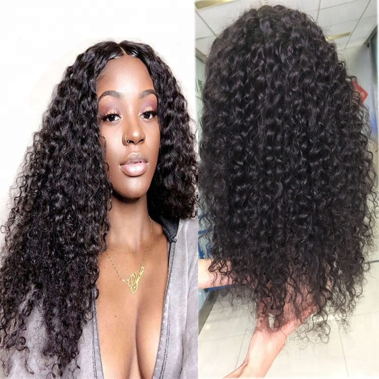 deep curly human hair wig , brazilian virgin hair , black color wholesale price wig