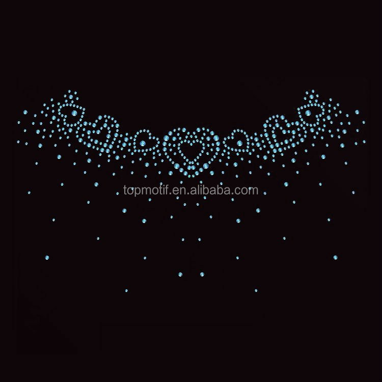 strass hotfix heart neckline templates rhinestone iron on transfer