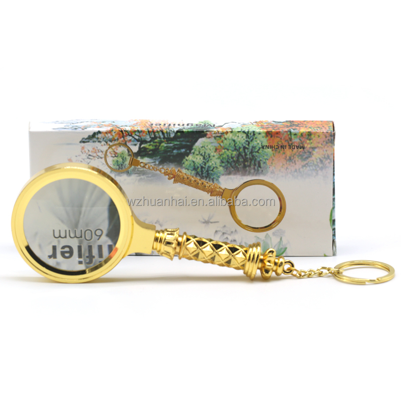 wholesale 10x 3x antique hand page dome glasses magnifier lamp with keychain