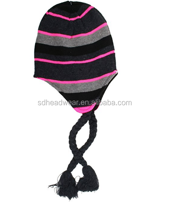Damas Grey Negro Y Rosa Rayas Tradicional Peruano/sombrero De Punto ...