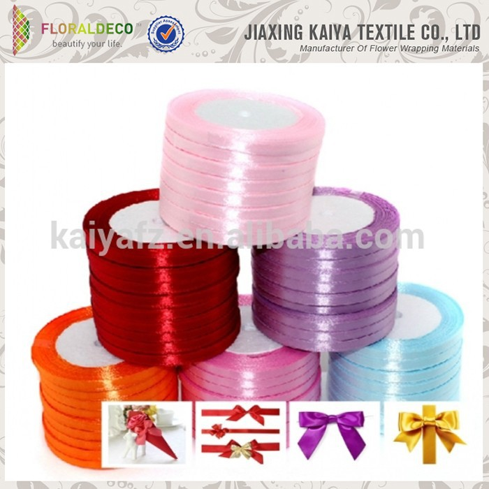 2015 hot selling polyester colorful single faced satin indian ribbons