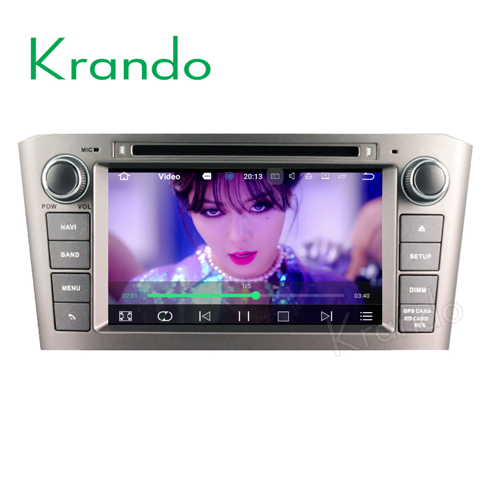 Krando Android 7.1 car multimedia navigation for toyota avensis 2003-2007 dvd gps radio WIFI 4G LTE 2G RAM KD-TA737