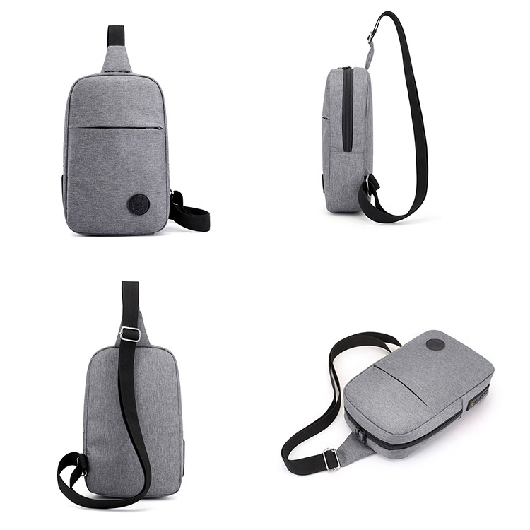 Custom Fashion waterproof Shoulder Sling Bags USB charging Travel Messenger Chest Bag for men