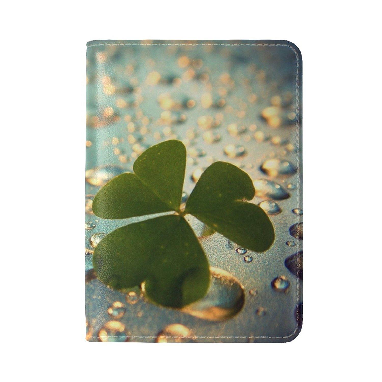Clover Grass Petals Flower Leather Passport Holder Cover Case Travel One Pocket