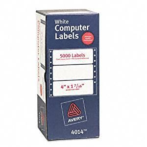 Avery : Dot Matrix Printer Address Labels, 1 Across, 4 x 1-7/16, White, 5,000 per Box -:- Sold as 2 Packs of - 5 - / - Total of 10 Each
