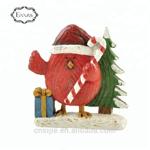 Resin Christmas Red Cardinal Bird on Snowy Branch Decorative Figurine