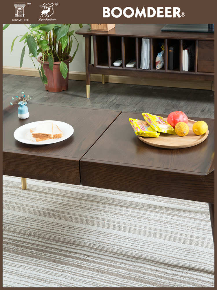 product-Nordic style solid wood low tea tablefolding chinese natural wood coffee table-BoomDear Wood-7