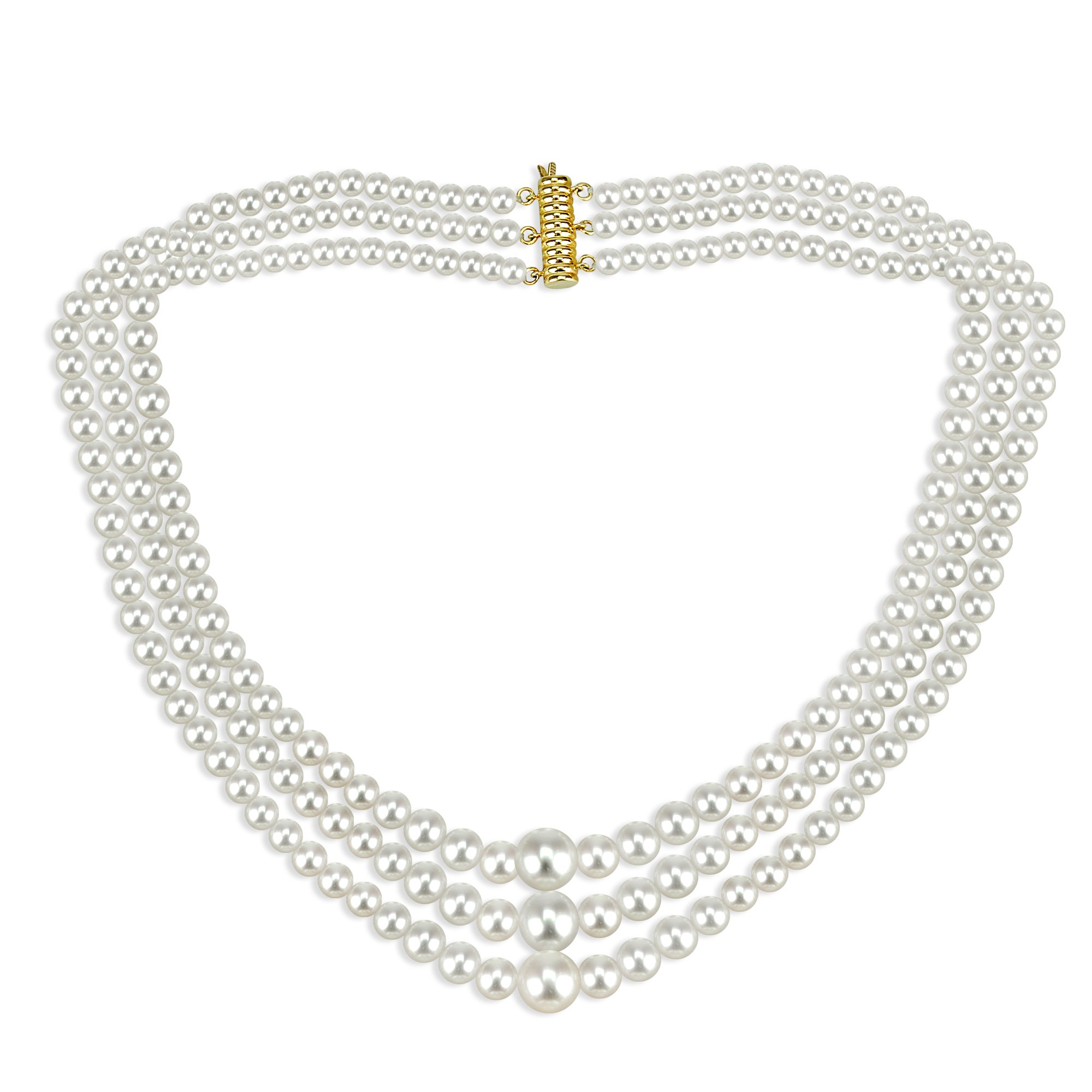 """14k Yellow Gold Graduated 4-10mm White Freshwater Cultured High Luster Pearl 3-rows Necklace, 16"""""""