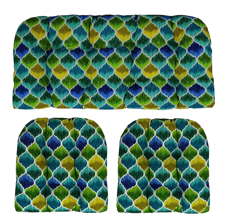 "RSH Décor Indoor Outdoor Wicker Tufted 3 Piece Set 1 - Loveseat Settee & 2 - U - Shape Chair Cushions - Denali Carribean Teardrop (41"" W x 19"" D & 19""W x 19""D)"