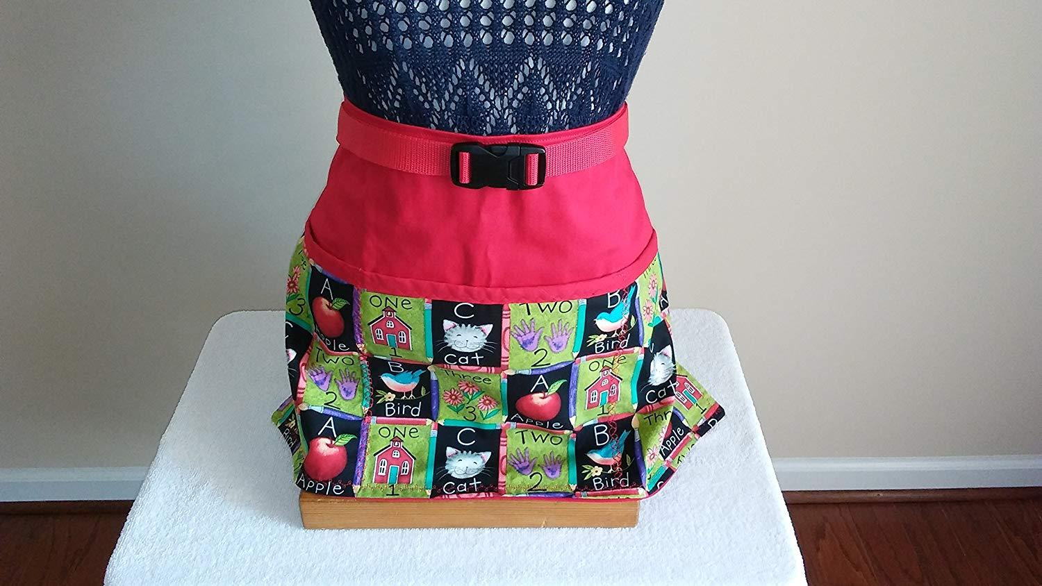 ADJUSTABLE NO TIE APRON - LIMITED EDITION - Pencil Blocked School Theme/3 Lined Pockets Waist Apron/Red binding on top of pockets/One size fits most/The Perfect Teacher's Gift