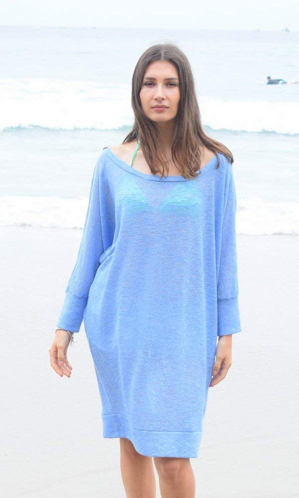 French Blue Off Shoulder Dolman Sweater Top, Sweater Dress, Plus Size Sweater, Beach Sweater, Blue Sweater. Size L-XXL