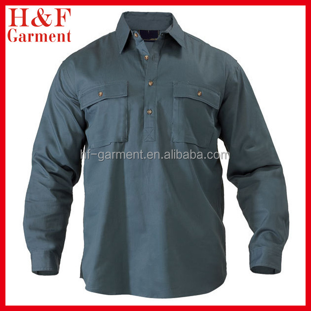Cotton Drill Work Shirts Pullover Men Two Pockets Custom Logo ...