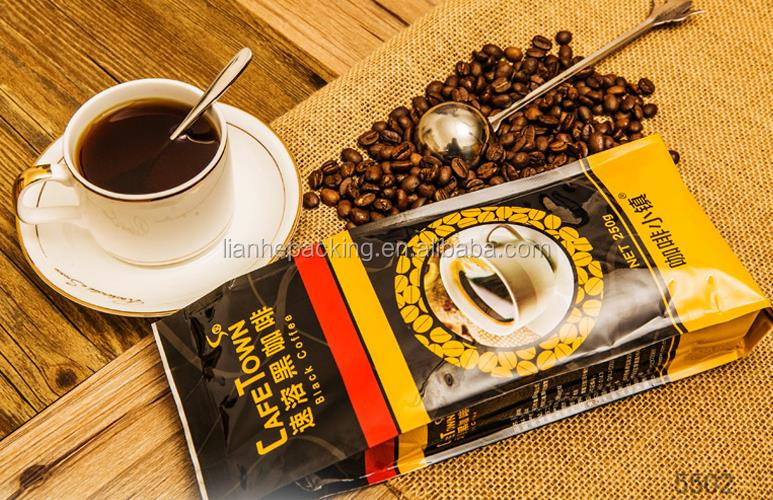 factory provide quality coffee bean packaging bag with speakers/square bean bag with zipper and valve