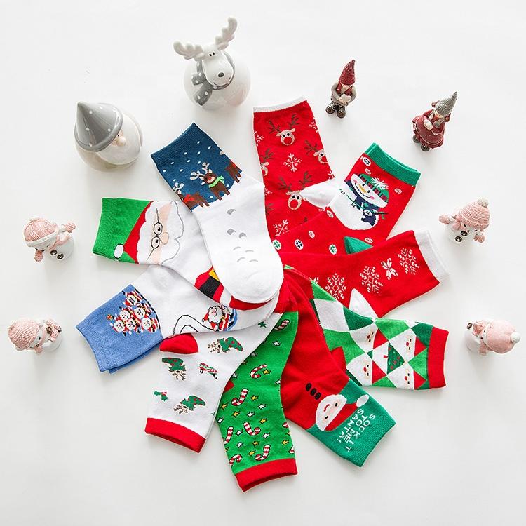 Groothandel vrouwen Kerst sokken vakantie cadeau nieuwigheid multi-color grappige crew sokken