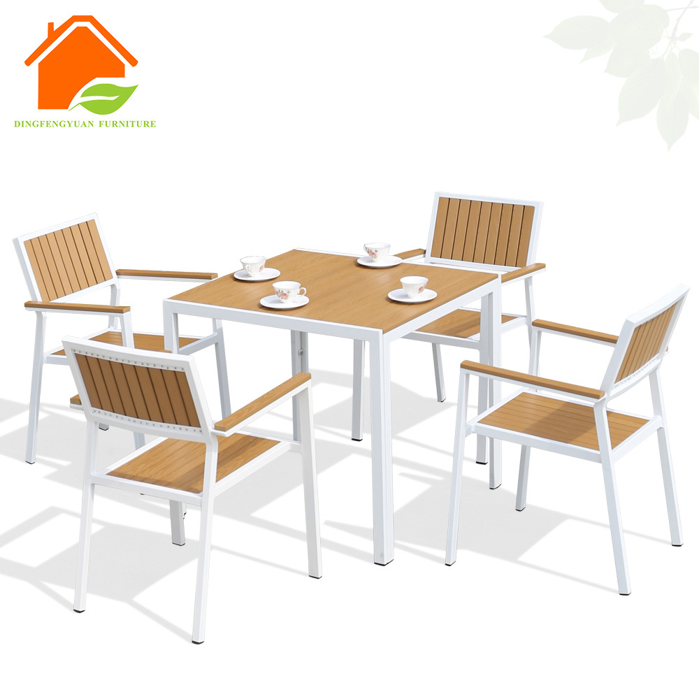 Garden Steel Poly Wood Dining Table Set