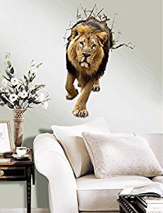 3D Wall Sticker Decal Kids Room Mural cartoon animation Removable Home Decal Home Decor mighty lion