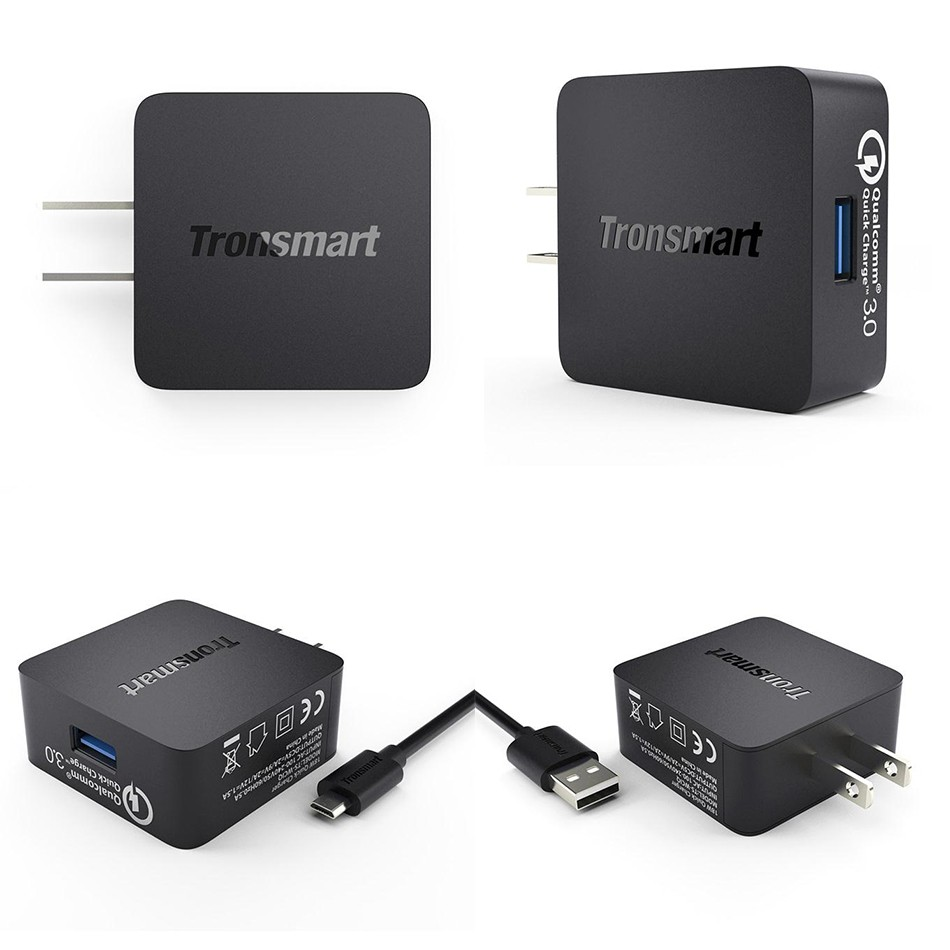 Tronsmart WC1T Qualcomm Certified Quick Charge 3.0 USB Charger With EU/US/UK Plug Smart Mobile Phone Charger For Iphone Samsung
