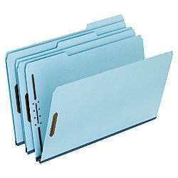 Pendaflex(R) Pressboard Expanding Folders, 1in. Expansion, 8 1/2in. x 14in., Legal Size, 75% Recycled, Light Blue, Box Of 25