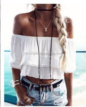 2018 New Design Fashion Women's Ladies Summer Lace Off-Shoulder Casual Blouses Crop Tops T-Shirt