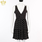 New design fancy printed sleeveless lady's dress