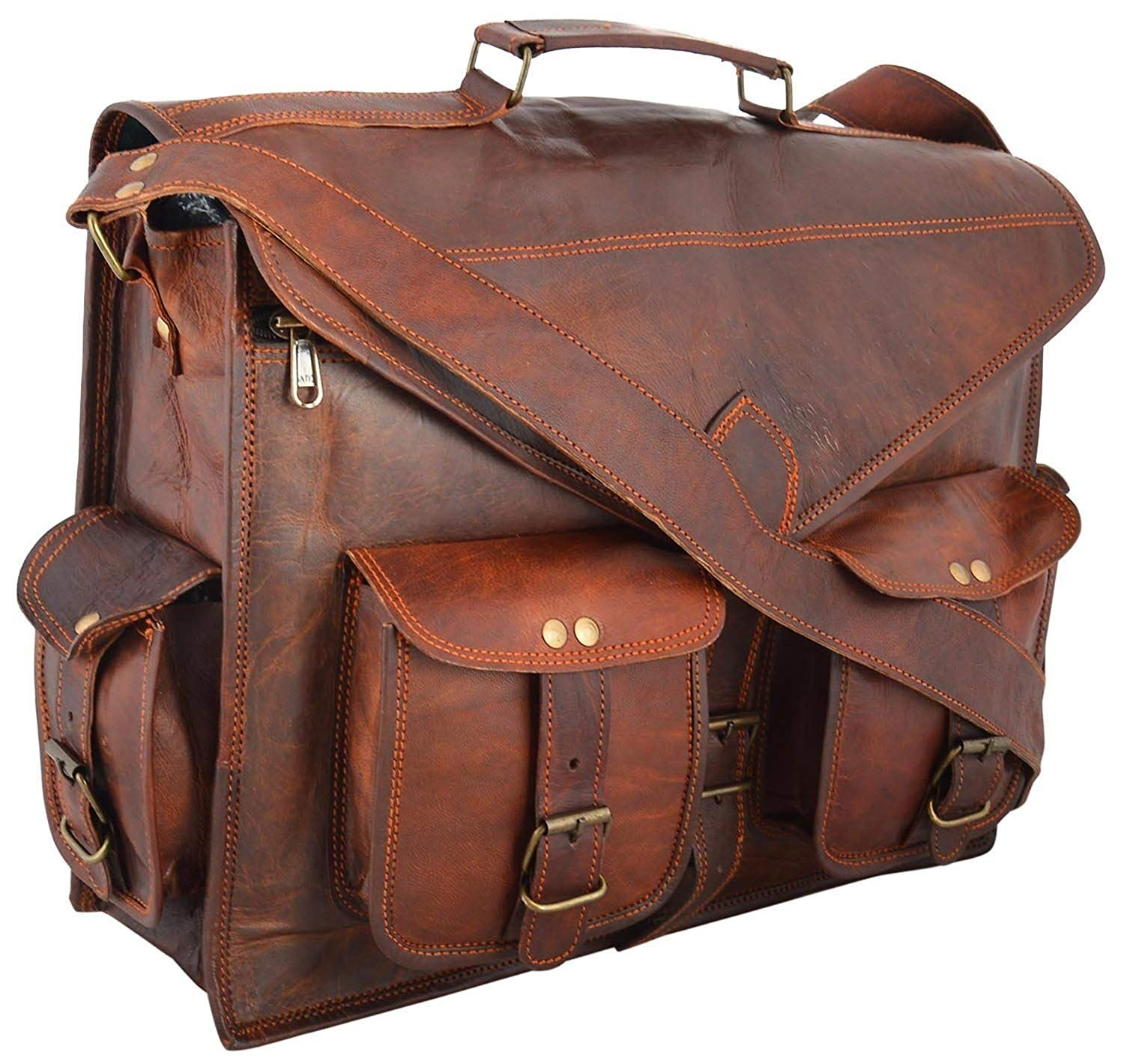 """Incredible Antique Arts 18"""" Leather Bag For Laptop Briefcase Messenger Bag 18x13x5 Brown Use for Laptop, iPad, McBook, Tablet etc"""