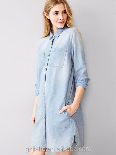 3485ed4e9f8d8 2015 Fashion Women Denim Shirt Dress Long Sleeve Denim Dress For Autumn