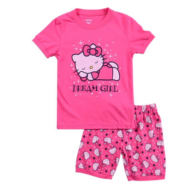 9e631a0d87 Get Quotations · Girls summer short sleeve character pajamas Kids cotton  hello kitty pijamas infantil Baby's pyjamas 2T-