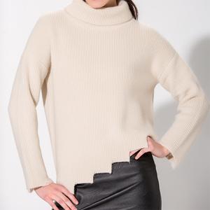 Half cardigan irregular long pullover knitwear top 10 supplier premium quality turtle neck woman sweater