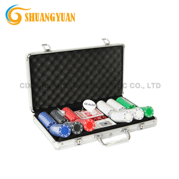 High Quality 300 Poker Chip Set With Round Corner Aluminum Case, Dealer Buttons, 2 Decks of Cards and 5 Dices