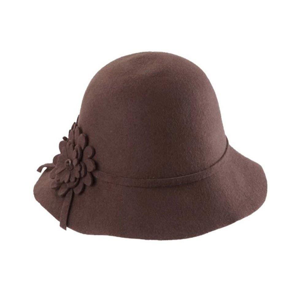 e83f589b013f8 Get Quotations · Women Girl Vogue Soft Wool Felt Ball Wide Brim Bowler Hat  Cloche Cap(Coffeel)