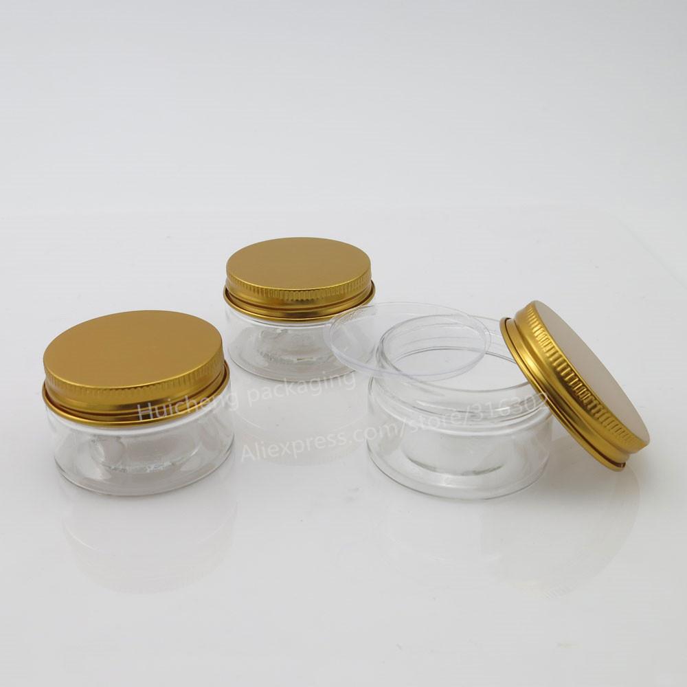 empty pet plastic jars aluminum gold lids clear pots cosmetic 30g 1oz cosmetic container 50pcs. Black Bedroom Furniture Sets. Home Design Ideas