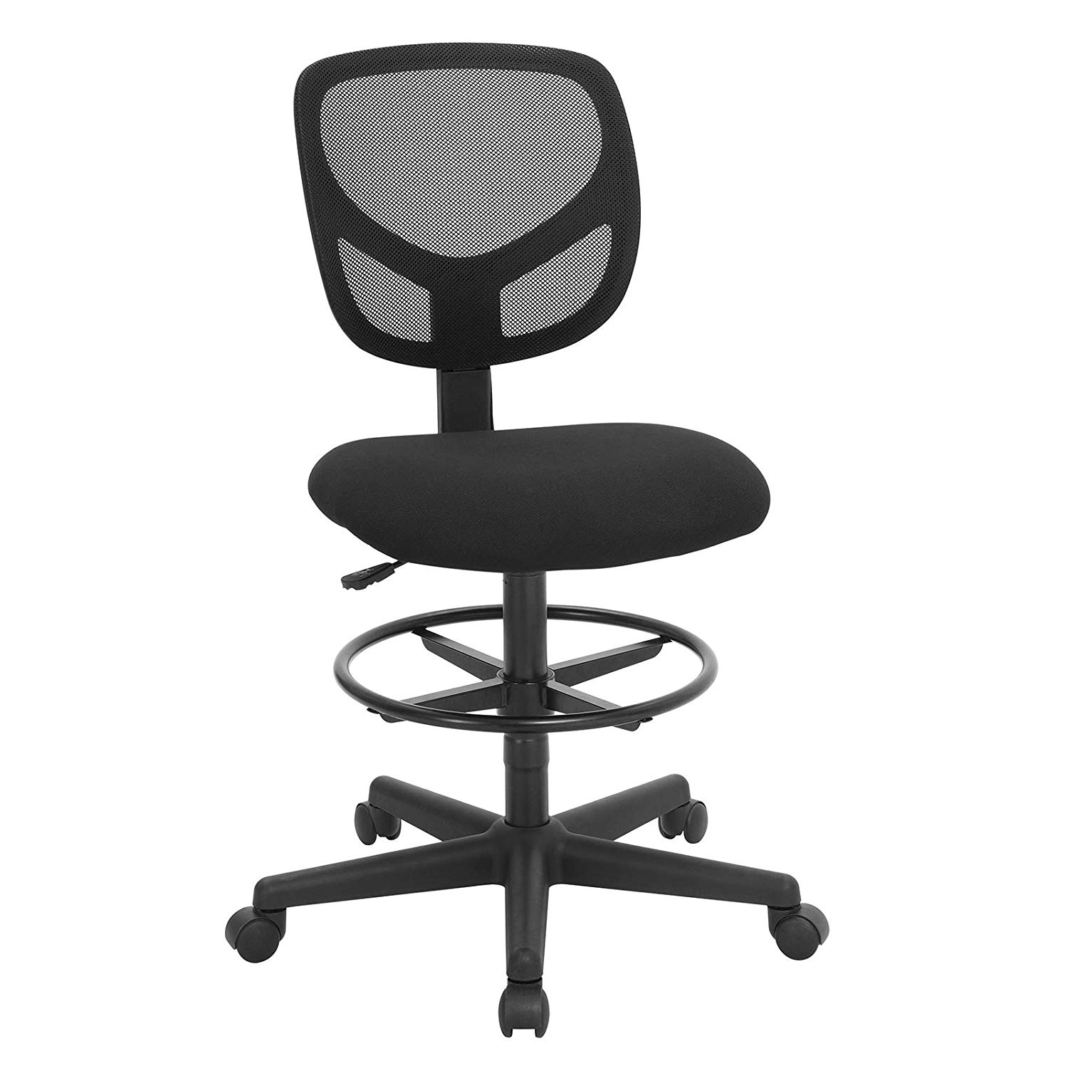 SONGMICS Mesh Drafting Stool Chair,Reception Office Desk Chair,Tall Standing Swivel Chair with Adjustable Foot Rest,Fabric Seat,Black,UOBN15BK