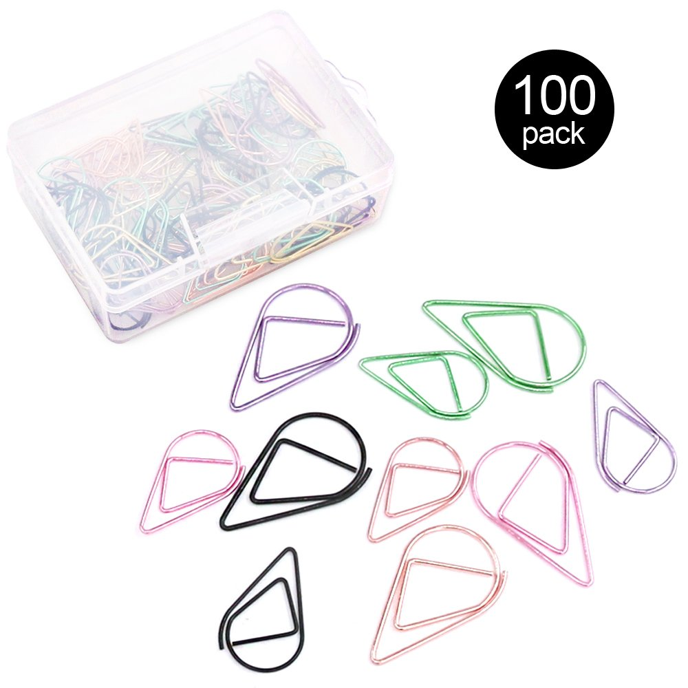 Rustark 100Pcs Multiple Colored Stainless Steel Water Drop-shaped Paperclips Bookmarks Paper Clips for Book, Memo, Paper, Poster, Decoration- 2 Sizes, 5 Color, Black, Gold, Orange, Green, Pink