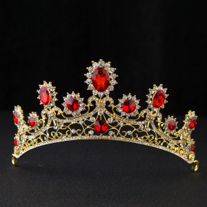 Wholesale cheap adjustable king pageant crowns red zircon crown tiara