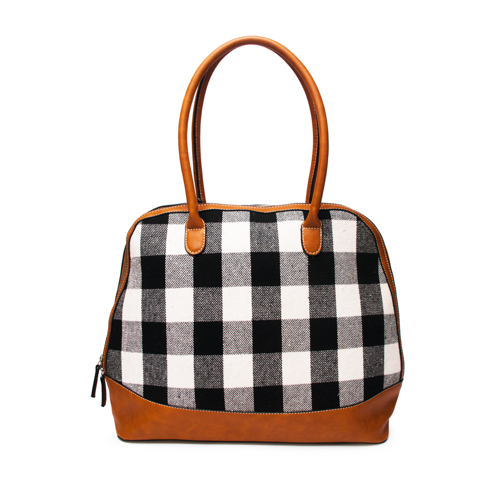 DOMIL Greed Grid Tote Bag Personalized Check Handbag Houndstooth Purse Bag Women Handbags <strong>Shoulder</strong> DOM-108399