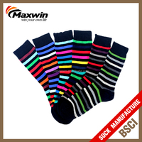 colorful stipe men's dress socks cotton made soft with high quality