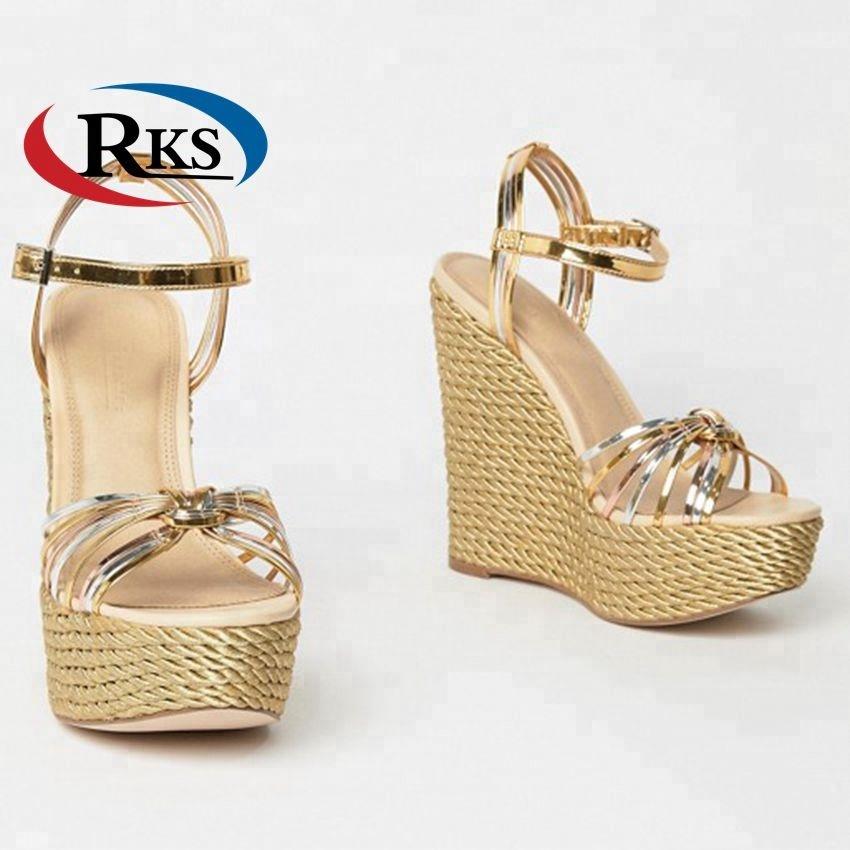 a08665752c36 Ladies Sexy High Way Gold Metallic Espadrille Style Sandals Ankle Strap  Platform Wedge Sandals