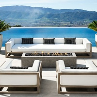 luxury villa teak modern garden all weather deep seat customized sectional three seat relaxing outdoor sofa